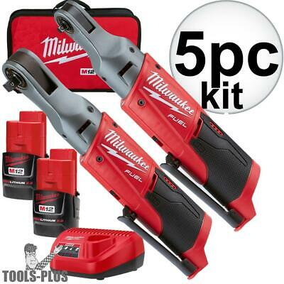 "Milwaukee 2556-22 M12 Fuel 12V Cordless 1/4""+3/8"" Ratchet 2 Battery Kit New"