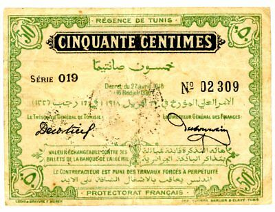 Tunisia … P-35 … 50 Centimes … 1918 … Choice*F-VF*... Early Note.