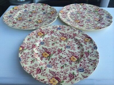 Antique Vintage Johnson Brothers Old English Chintz Pink Set Of 3 Dinner Plates