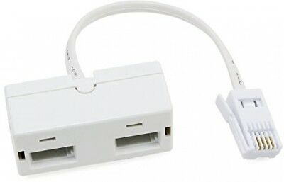 One BT Plug to Two UK BT Telephone Socket Adapter Splitter Doubler Splitter