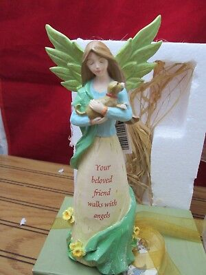 Comforting Embrace Angel Figurine Dog Your Beloved Friend Walks With Angels Russ