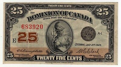 1923 Dominion of Canada 25 Cent Note - E-683920, DC-24d