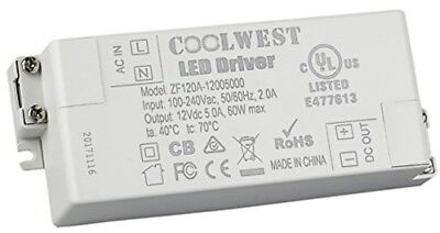 COOLWEST 60W 12V Power Supply Driver Transformer for LED Flexible Strip Light