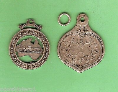 #S3. TWO RARE 19th CENTURY NSW RAILWAY SILVER UNION FOBS