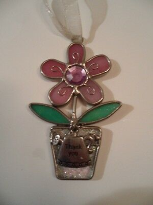 "hanging stained glass flower/sprinkler can charm 3 1/4"" tall x 2"" wide VGC"