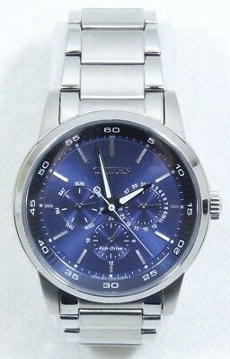Citizen Men's Stainless Steel Eco-Drive Dress Blue Dial Watch - Free Shipping