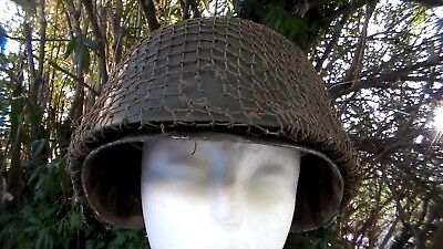 US Army WW2 / Korean War / Vietnam War era M-1 Helmet & Netting Used Condition