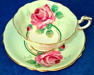 Paragon Light Green Humongous Rose Fine Bone China Cup & Saucer 1950s
