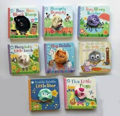 New, collection of 4 finger puppet book, Humpty Dumpty, Bingo,Baa baa,Hey Diddle