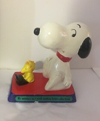 Snoopy 1970's My Secretary Isn't Worth Anything Figurine Japan Rare 1971 Coffee