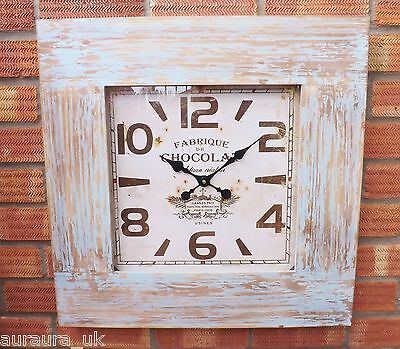 Large French Chocolate Factory Wooden Blue Wash Frame Wall Clock Chocolat Paris