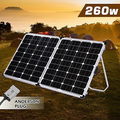 12V Folding Solar Panel 260W Monocrystalline Caravan Camping Battery Charge USB