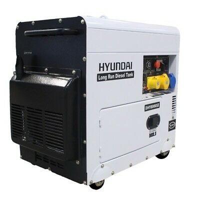 Hyundai DHY8000SELR Diesel 6kw Silenced Long Run Electric Start Generator
