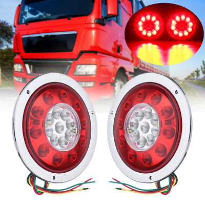 2pcs Round 19 LED Car Truck Trailer Lorry Stop Turn Tail Brake Light Side Marker