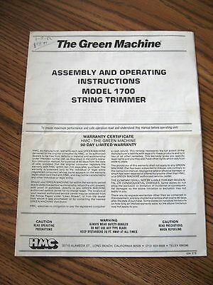 GREEN MACHINE String Trimmer Model 1700 - OPERATING INSTRUCTIONS ! w/ Supplement