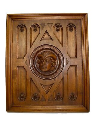 French Antique Neo Gothic Hand Carved Wood Man Face Wall Panel Paneling 19th.C