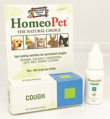 Homeopet 'Cough' Kennel Cough Wheezing Dry, Wet Barky Cough Dog Cat Pet 15ml