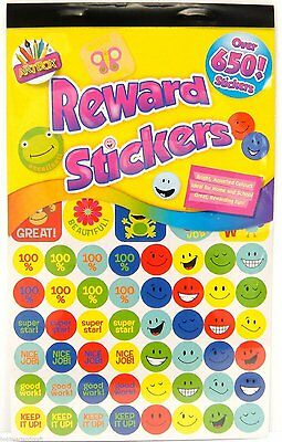 500 Kinder Belohnungs Sticker Smiley Gesichter Aufkleber