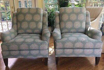Pair of Sherrill Club Chair in Teal and Cream Pattern - Can Ship