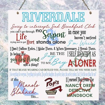 Riverdale TV Show Quotes Plaque Birthday Gift Present Plaque Sign Wall
