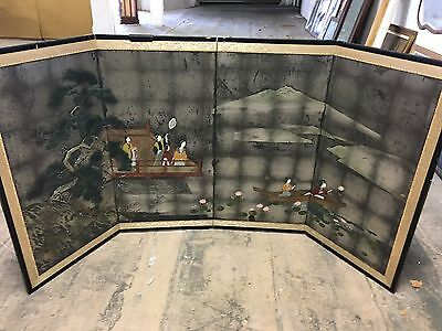 Vintage Japanese Painted Screen Kyoto Japan 4 Panel Folding Screen Brass Accents