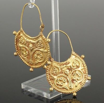 BEAUTIFUL PAIR OF ANCIENT BYZANTINE EARRINGS CIRCA - 9th Century AD  022