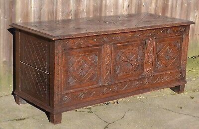 Fabulous Carved Oak Blanket Box Chest Trunk Coffer Antique Storage Hall Seat