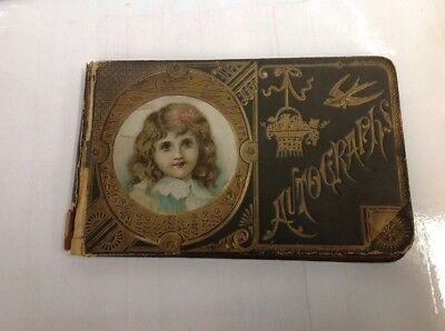 ANTIQUE AUTOGRAPH SCRAP BOOK 1880s VICTORIAN ART COVER