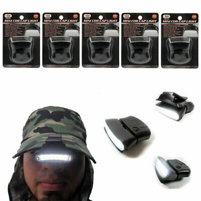 5 Pack LED Clip-on Cap Hat Light Head Lamp Fishing Camp Headlamp Hunting Torch