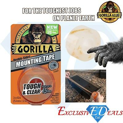 "Gorilla Glue Heavy Duty Mounting Tape 60"" Double Sided Weatherproof Clear"