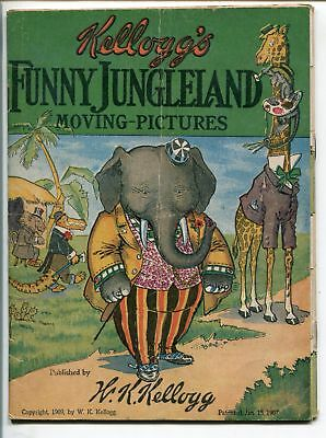 FUNNY JUNGLELAND MOVING-PICTURES 1909-KELLOGG-FLIP PAGES-FUNNY ANIMALS-vg