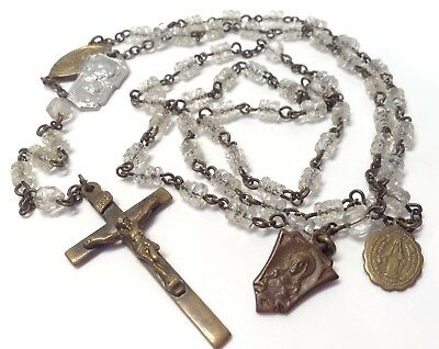 Vintage Antique Clear Glass Beads Rosary