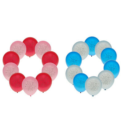10pcs Baby 2nd Birthday Latex Balloons Girl Boy 2 Year Old Party Decoration
