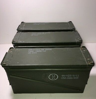 "Lot of 3 MILITARY 40MM, BA30, PA120 METAL AMMO CAN STORAGE 6"" W x 10"" H x 19"" L"