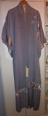 Vintage Japanese Abstract Grey Silk Kimono Great Condition