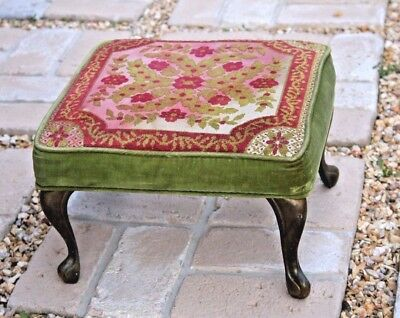 Vintage Foot Stool Brass Legs Velvet & Tapestry