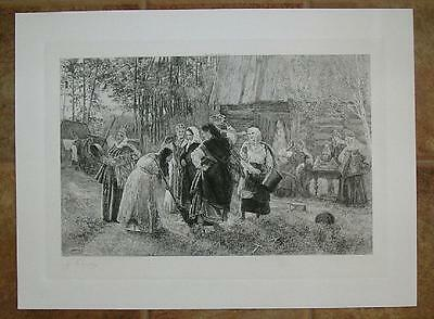 Antique Middle Ages Costume Wedding Bride Broom Farm Birch Tree Cabin Art Print