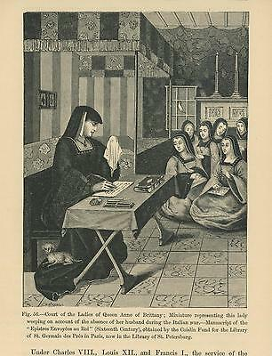 Antique Queen Anne Of Brittany Court Of Ladies Sorrow Weeping Writing Old Print