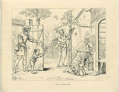 Antique Middle Ages Costume Garden Farm Dog Boy Girl Flowers Woodcut Art Print
