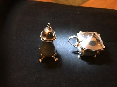 EPNS Mustard pot and salt cellar unknown maker or age - USED