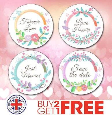 Floral Shabby Chic Personalised Wedding Favour/Save/Date Sweet Sticker/Label
