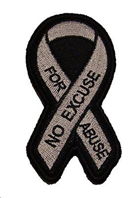 No Excuse For Abuse Domestic Violence Awareness Ribbon Patch Light Purple Grey