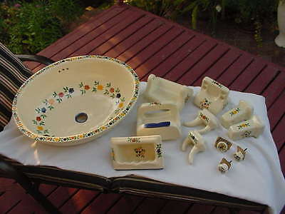 Bathroom Hand Painted New China Sink & Many Matching Wall Accessories Attachment