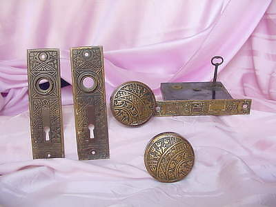 Antique Ornate 1900 Era Passage Door Handle & Keyed Lock Set Vintage Hardware Nr