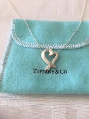 """TIFFANY & CO Paloma Picasso Sterling Silver Loving Heart Pendant Necklace-16"""""""