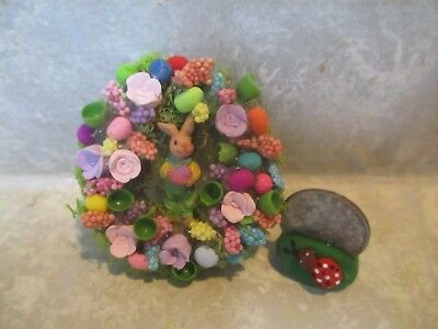 """Miniature Doll//dollhouse 2 1//4/"""" SPARKLY//assorted floral Easter Egg Wreath #6"""