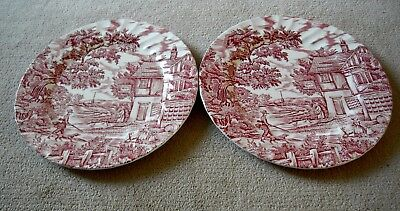 Pair of Vintage Myotts The Hunter Hand Engraved Staffordshire Ware Dinner Plates