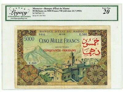 Morocco ... P-51 ... 50 Dirhams on 5000 Francs ... 1953 ... *F++*.