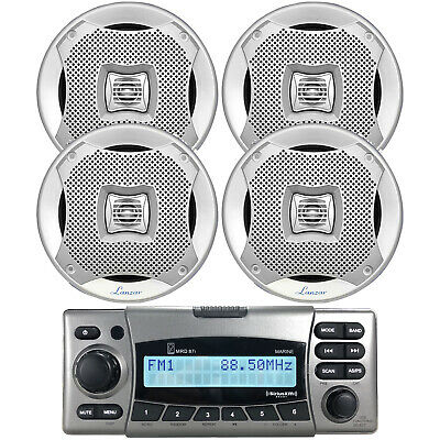 "4 Marine 400W Silver 6.5"" Speakers, Kenwood Bluetooth USB AUX Marine Receiver"