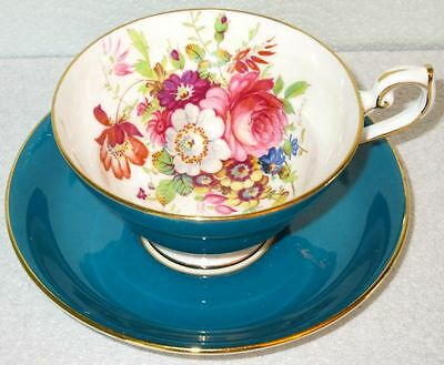Hammersley & Co Hand Painted Artist Signed Howard, Turquoise Summer Flowers Cup
